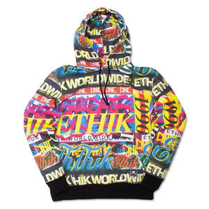 hoodie with graffiti in bright colors