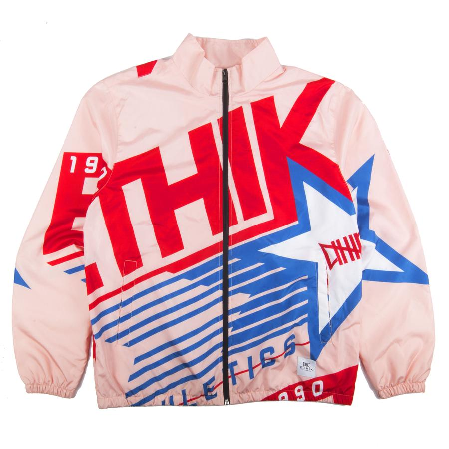 pink and red and blue retro style windbreaker