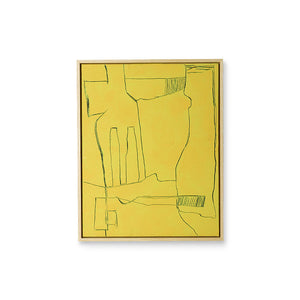 framed yellow abstract painting
