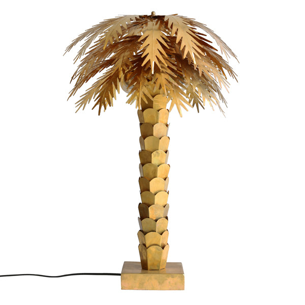 brass palm tree sculpture light by HK living USA
