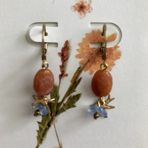 ART GIFT | Double flower hummingbirds earrings