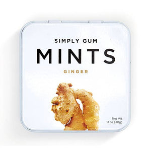 simply gum tin with ginger mints