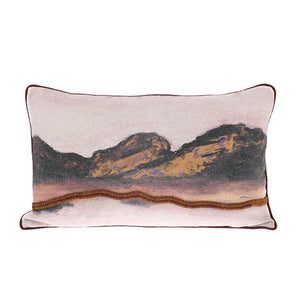 front of 3d art pillow in pastel colors and mountain landscape