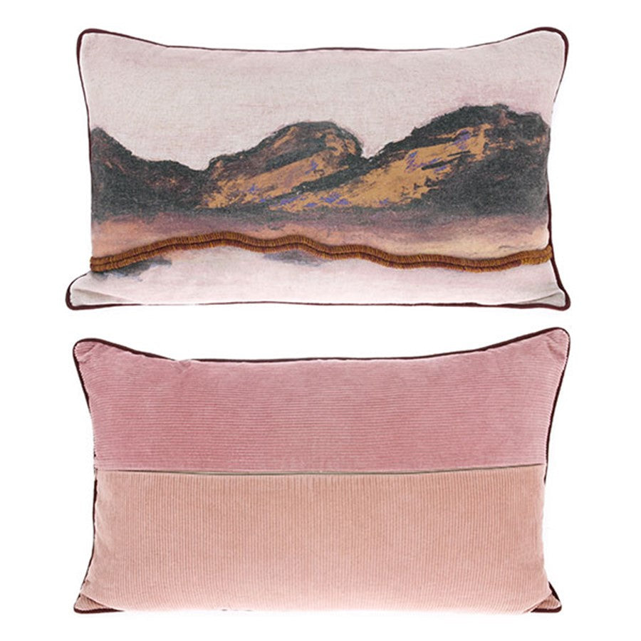 3d art pillow in pastel colors with corduroy back