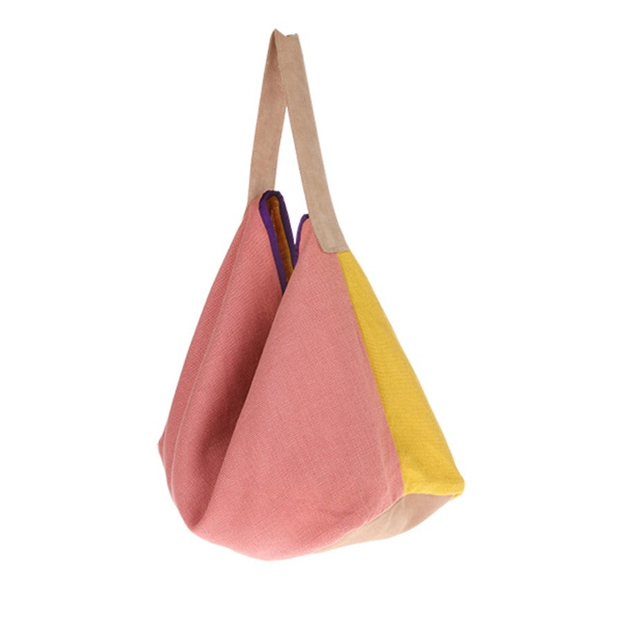 artsy bag by HK living USA made of linen in yellow and pink