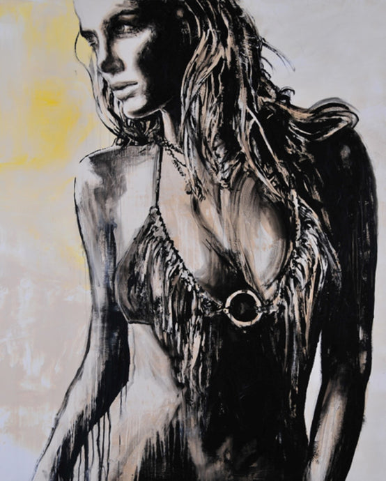 painting of woman in bikini by daniel maltzman