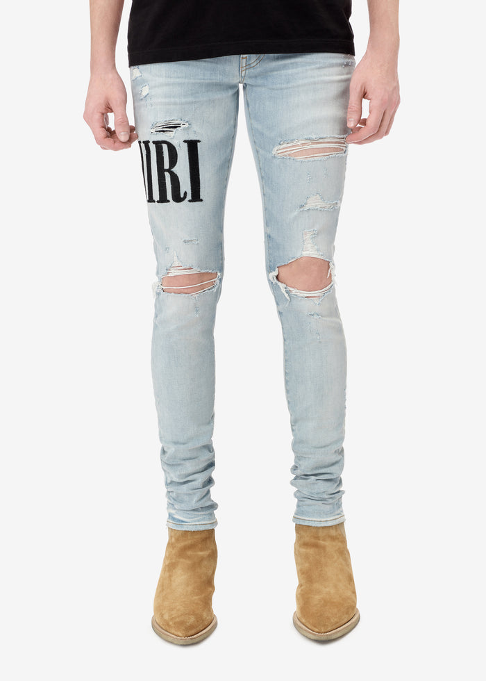 Embroidered AMIRI Jean - Super Light Indigo