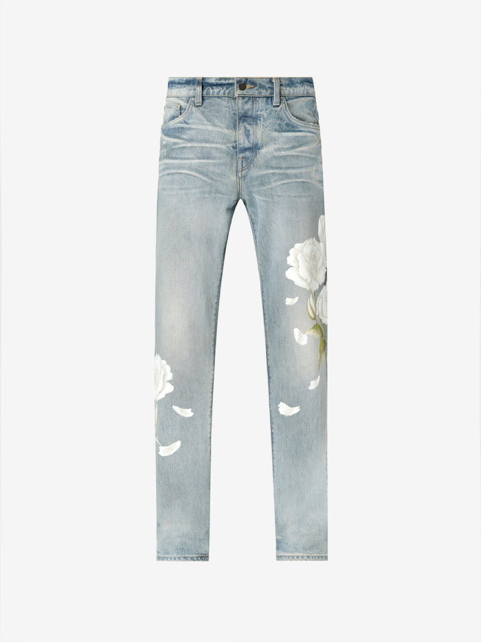 Flower Painted Relaxed Jean - Original Indigo