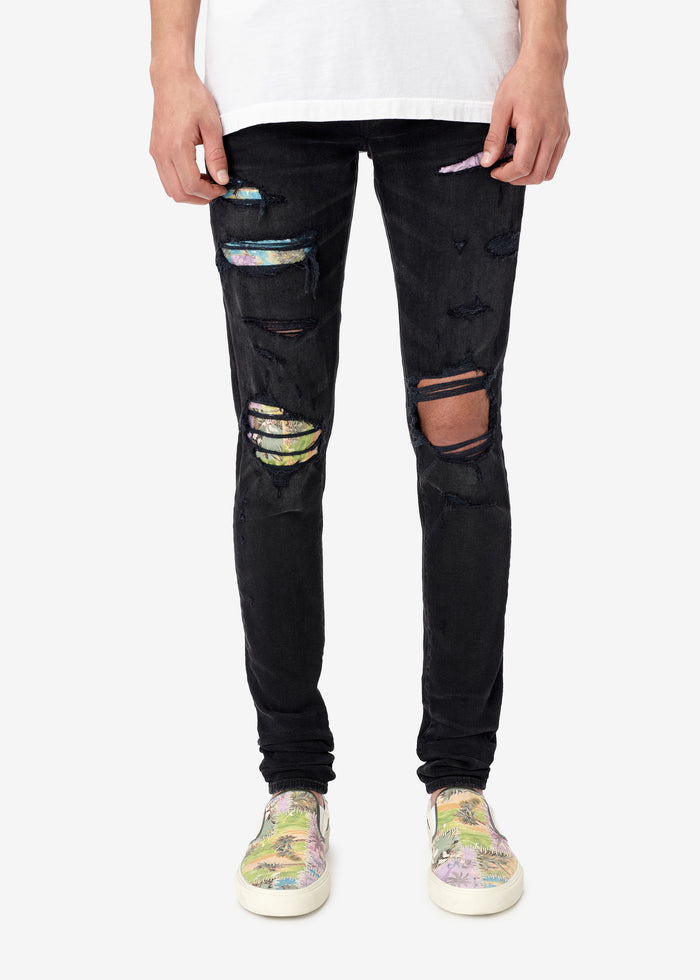 Hawaiian Patch Jean - Aged Black