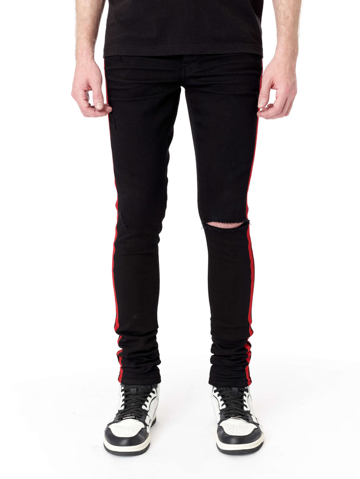 Flock Track Jeans - Black/Red