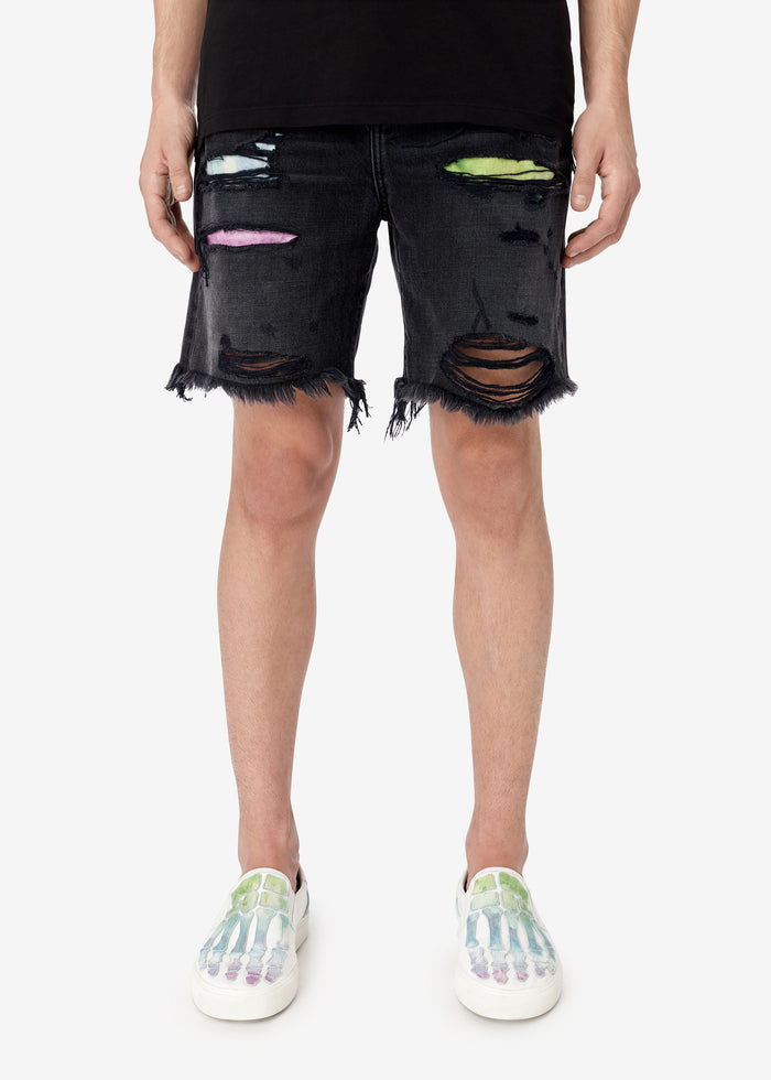 Watercolor Thrasher Shorts - Aged Black