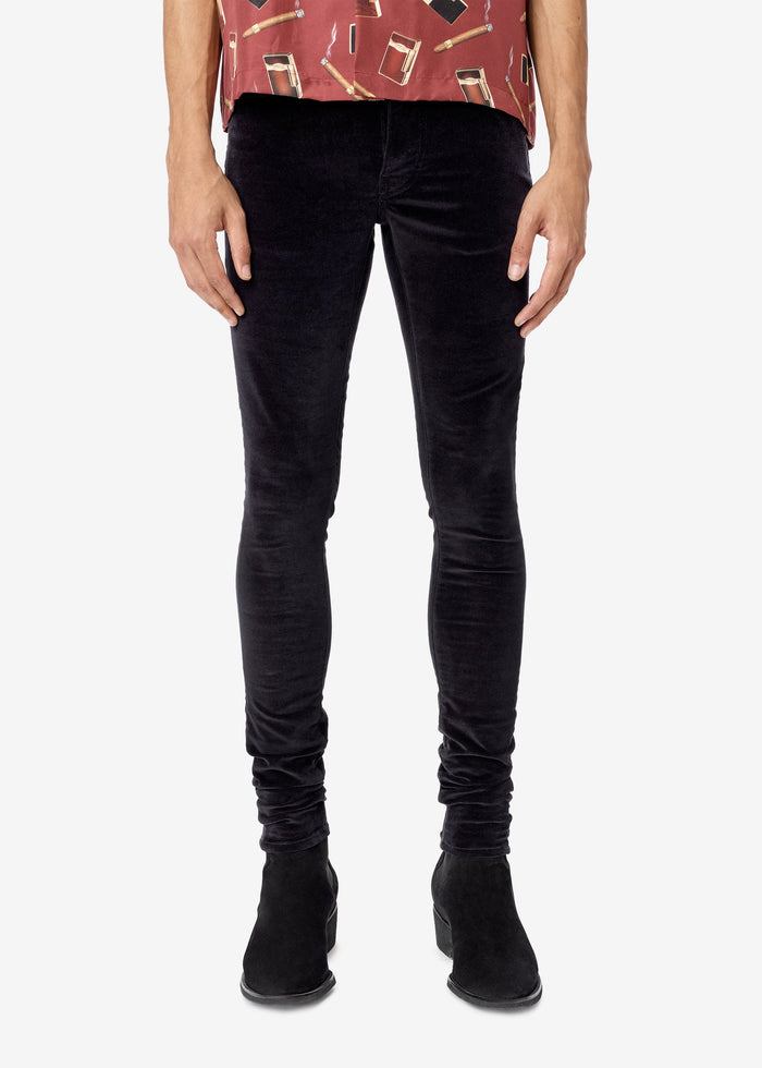 Velvet Stack Pants - Black