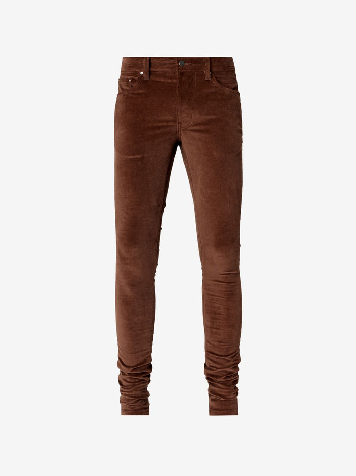 Velvet Stack Pants - Brown
