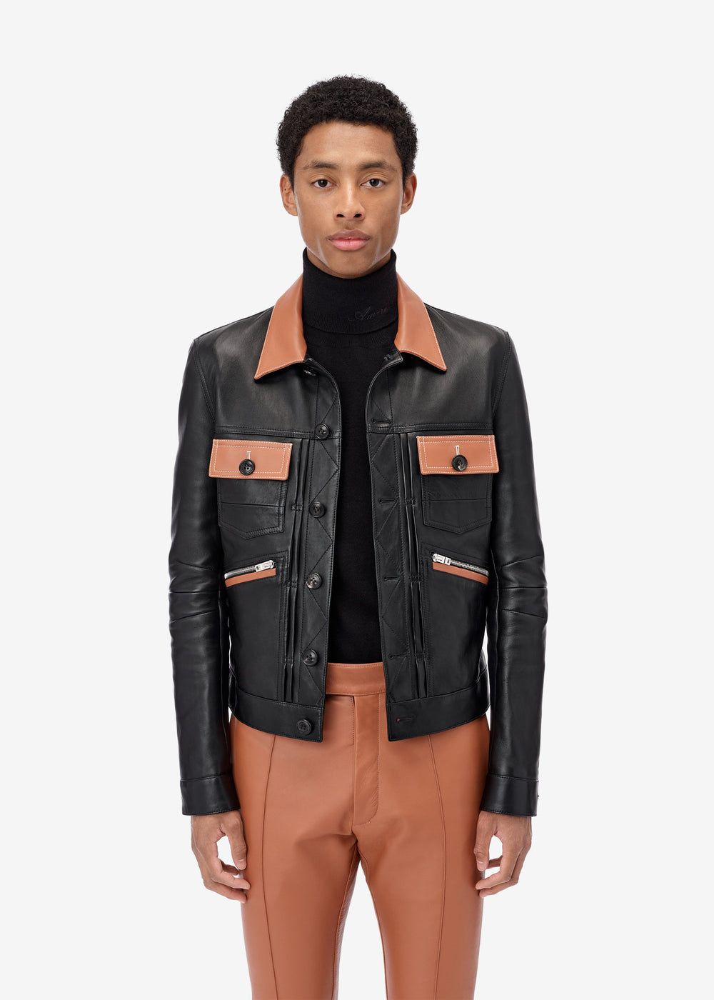 Contrasted Leather Jacket - Black / Roasted Red