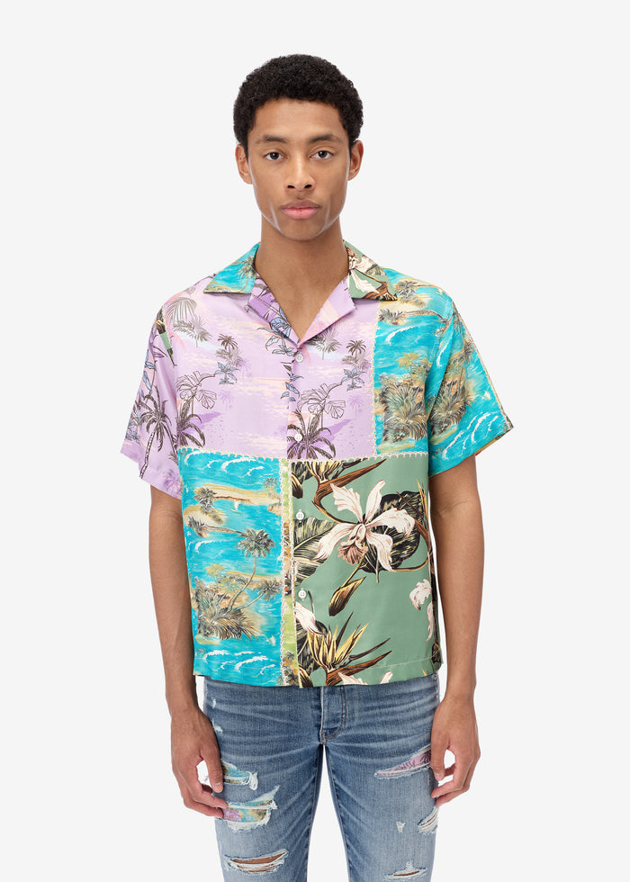Hawaiian Patchwork Shirt - Purple / Green