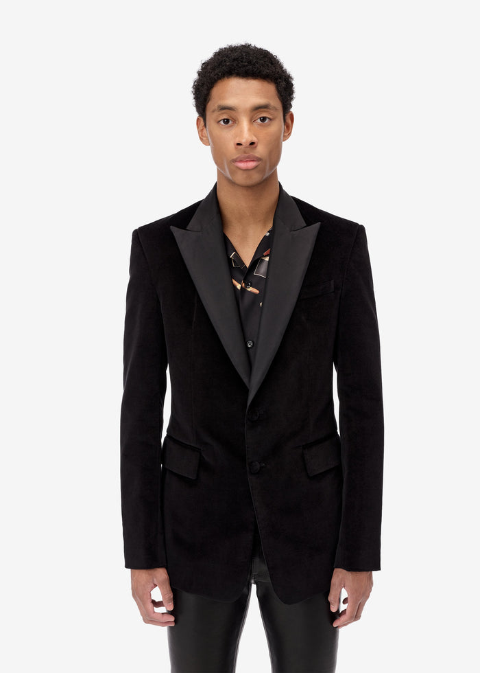 Velvet Single Breasted Blazer - Black