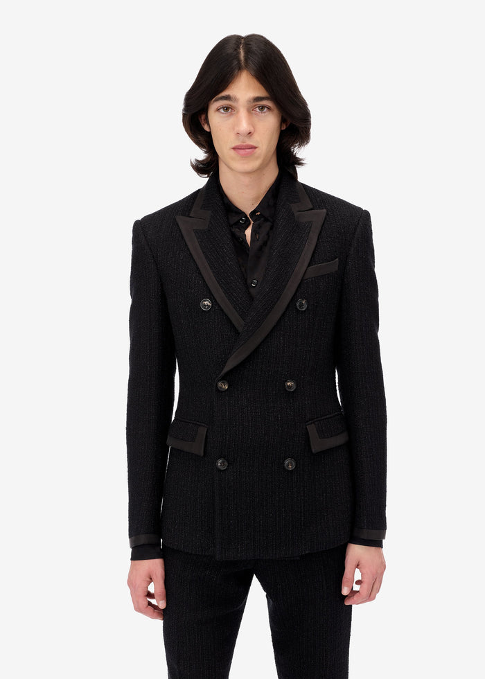 Boucle Double Breasted Blazer - Black