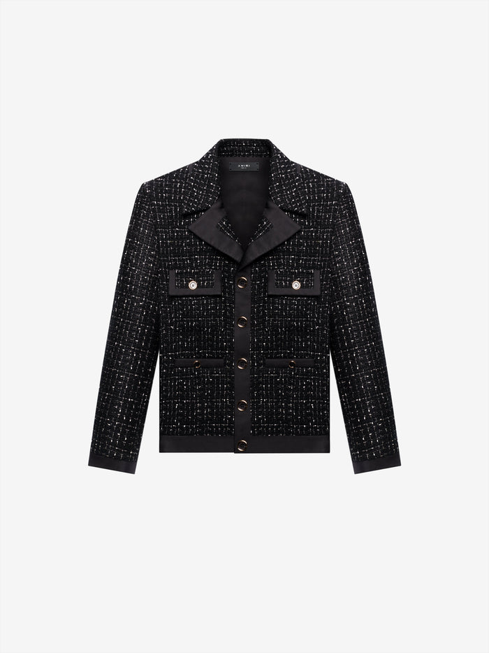 Boucle Cropped Jacket - Black/Black