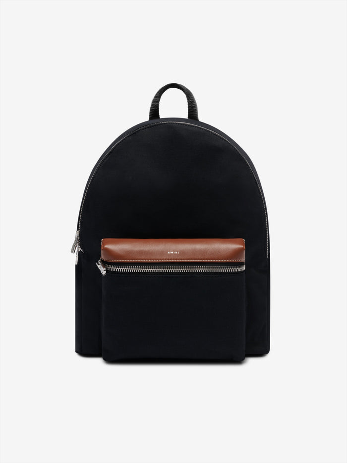 Canvas/Calf Classic Backpack - Black / Brown / Silver
