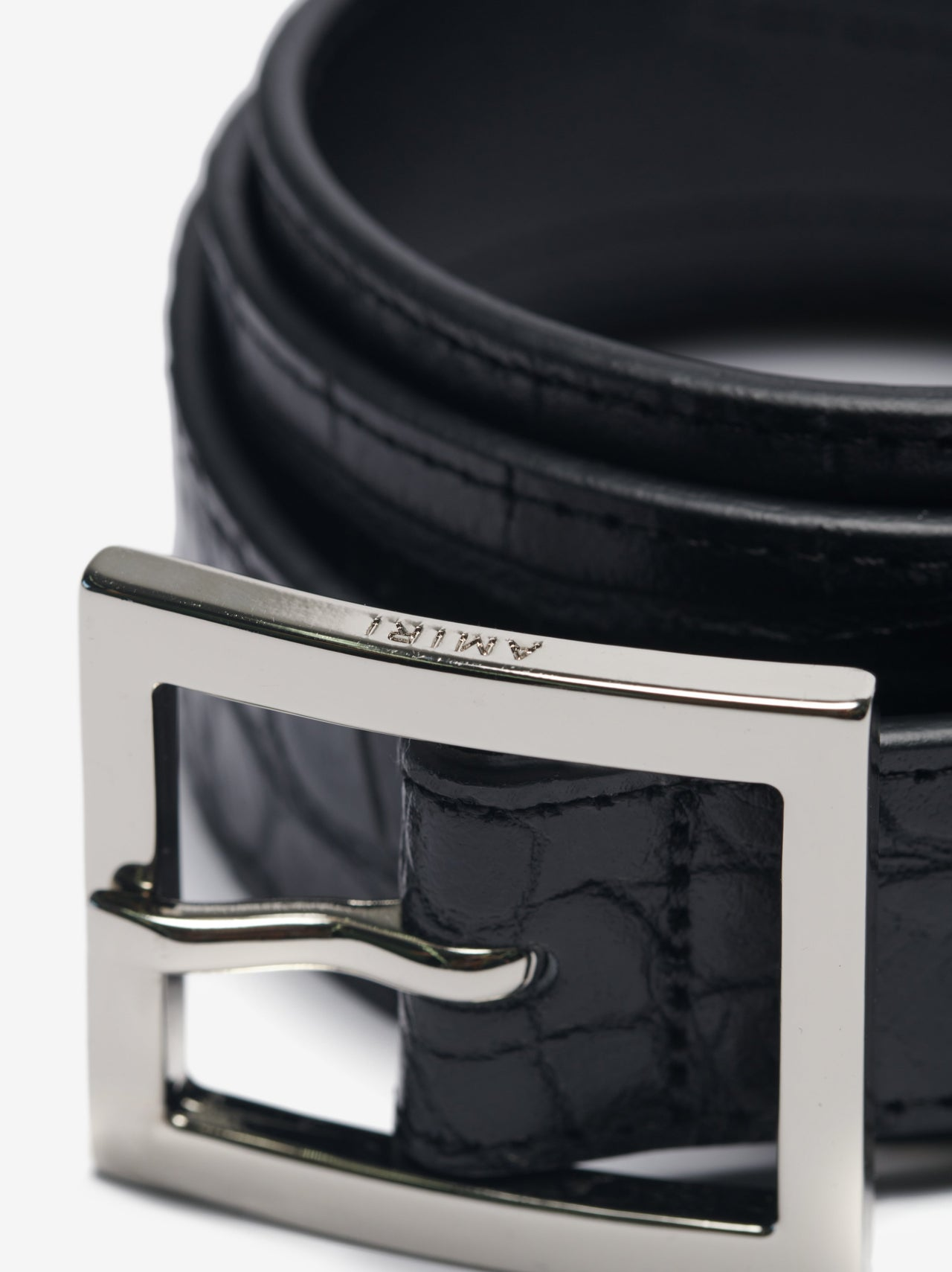 Emboss Croc Classic Belt 30mm - Black/Silver