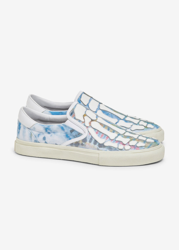 Tie Dye Skel Toe Slip On - Green Tie Dye / White