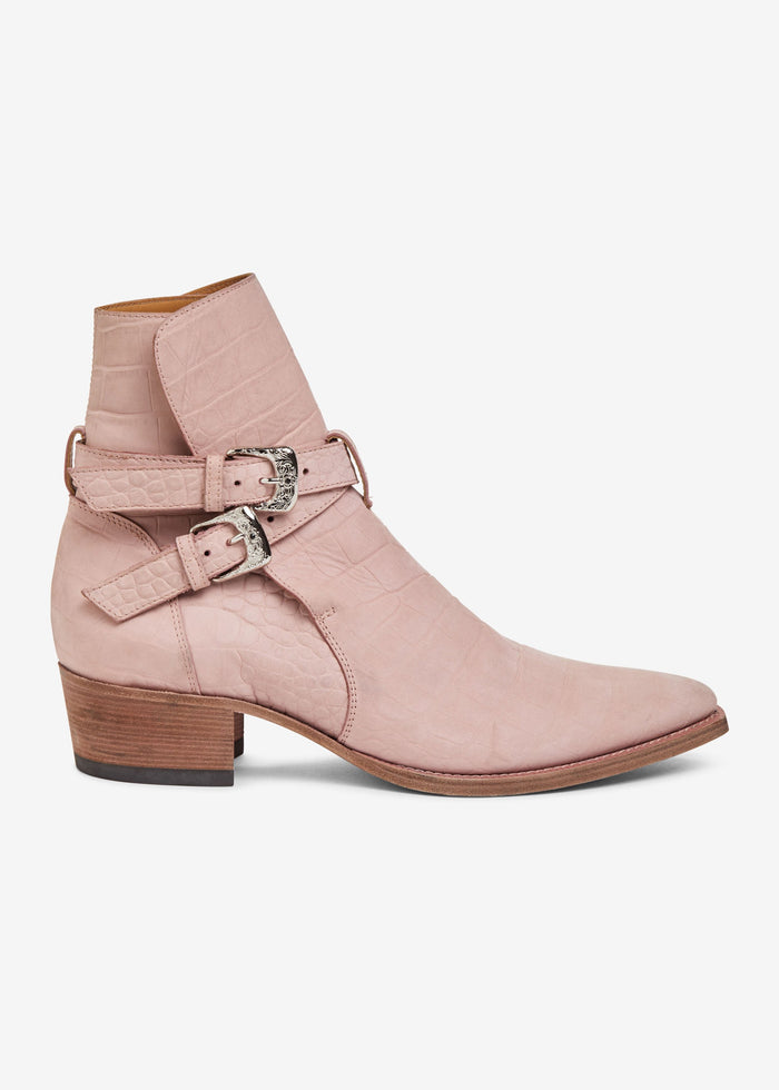Croc Embossed Jodhpur Boot - Salmon
