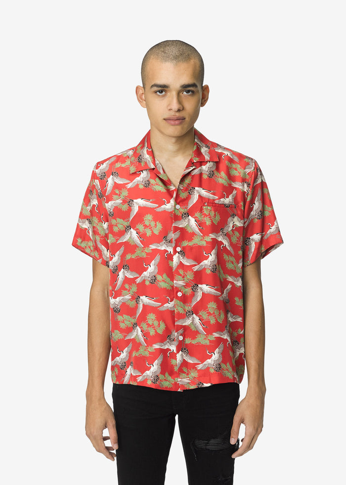 Crane Short Sleeve Shirt - Scarlet