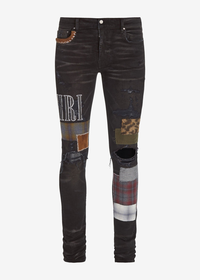 Amiri Grunge Patch Jean - Rough Black