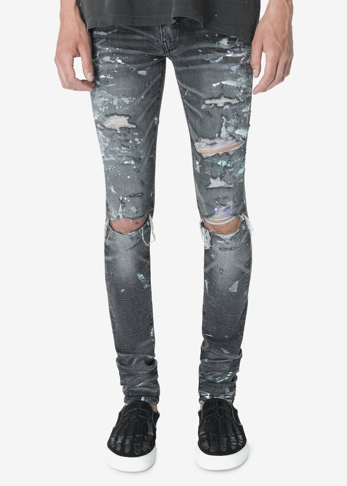 Paint Splatter Jean - Vintage Grey