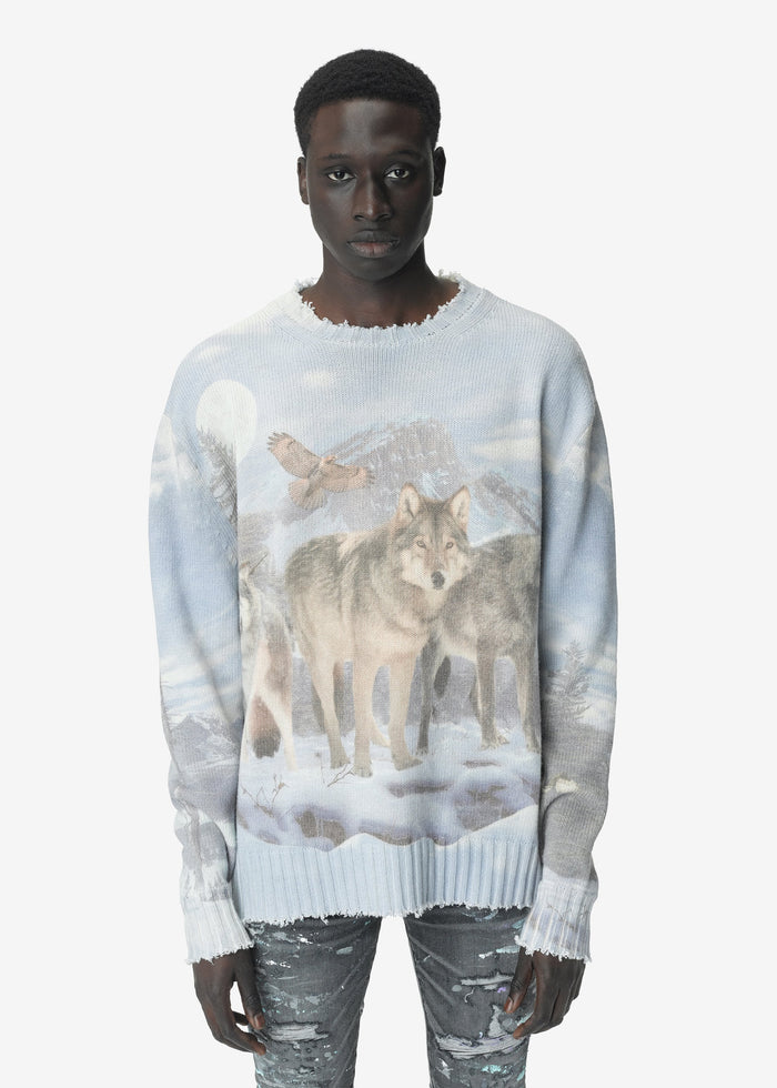 Digital Print Wolves Crewneck - Multicolor