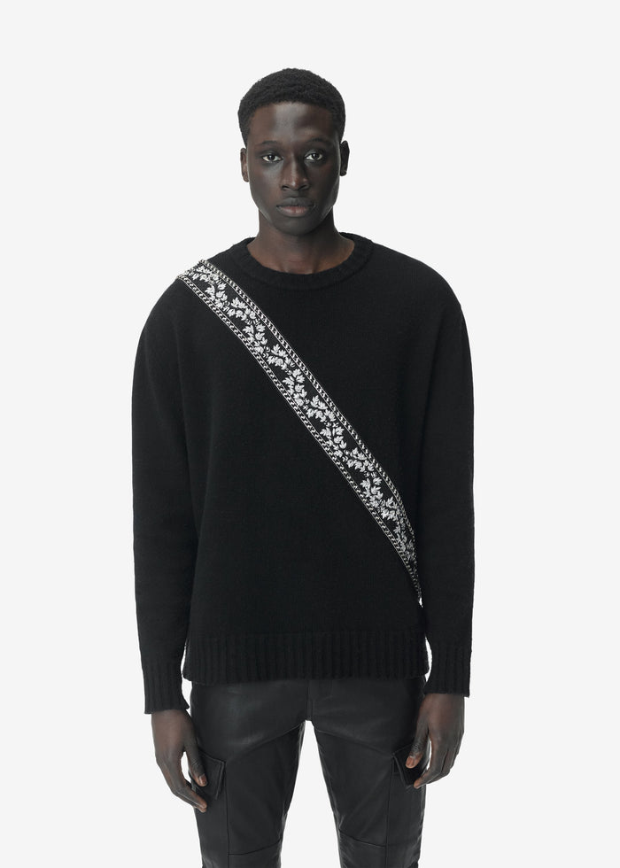 Guitar Strap Knit Crewneck- Black