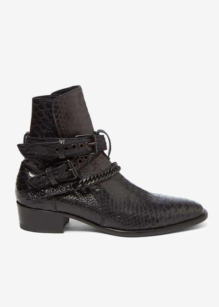 Buckle Chain Boot - Black/Black