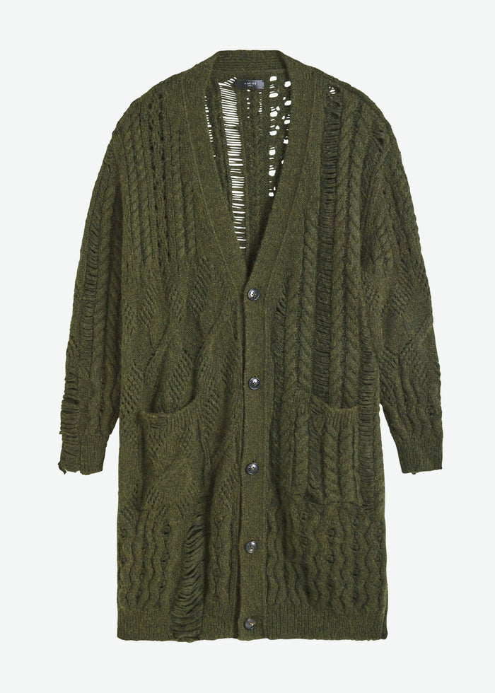 Oversized Multipoint Cardigan - Military Green