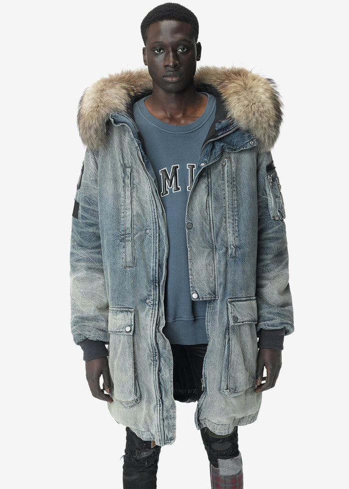 Full Length Hooded Fur Parka - Vintage Blue