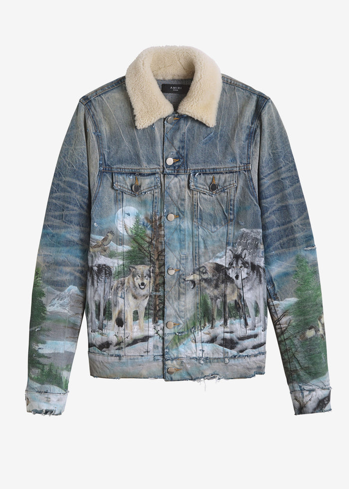 Shearling Airbrush Trucker Jacket - Vintage Blue
