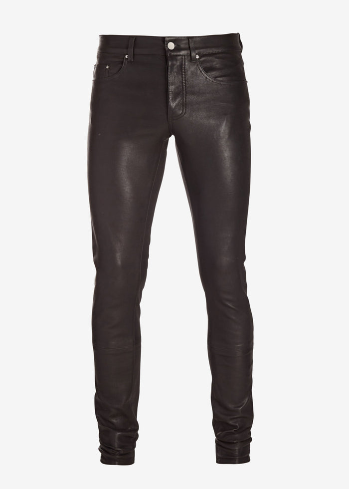 5 Pocket Leather Pant - Black