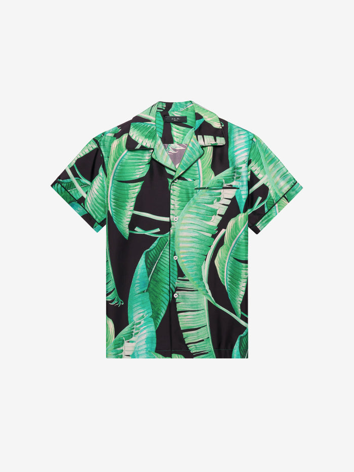 Banana Leaves Short Sleeve Pajama Shirt - Black