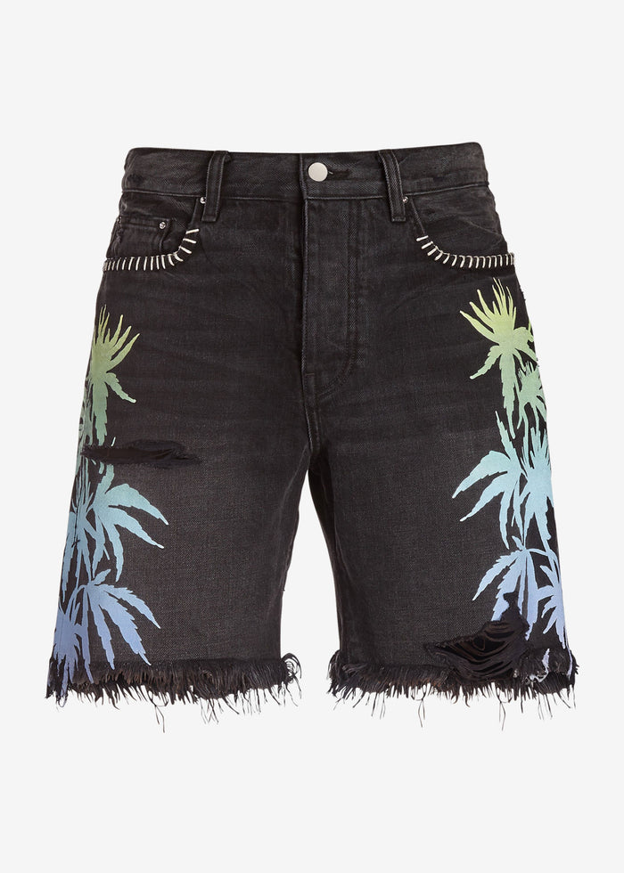 Leaves Denim Shorts - Aged Black