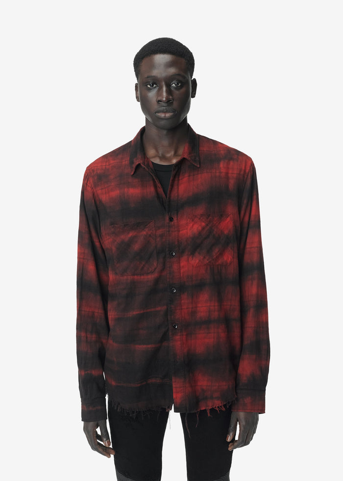 Bleached Flannel Shirt - Red