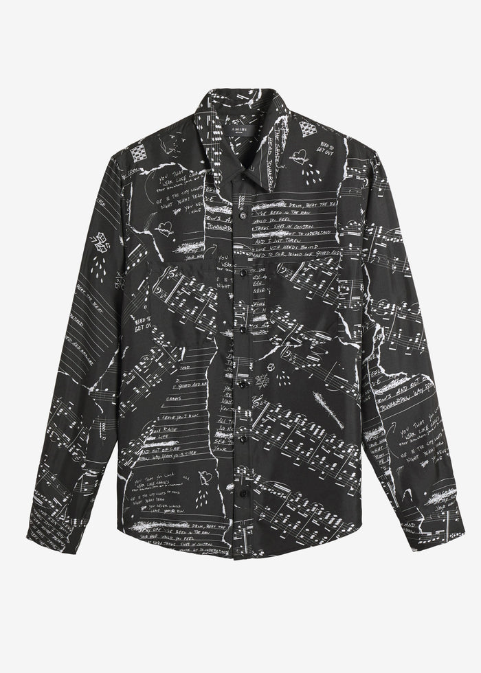 Broken Music Note Long Sleeve Shirt - Black