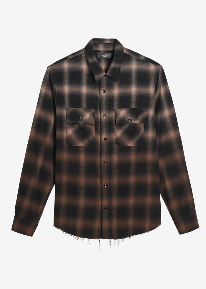 Ombre Plaid Shirt - Khaki