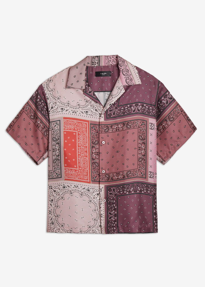 Bandana Reconstructed Short Sleeve Shirt - Coral