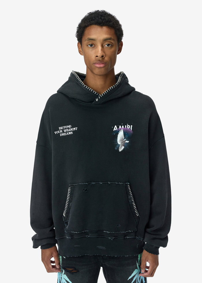 Oversized Eternal Dove Hoodie - Washed Black