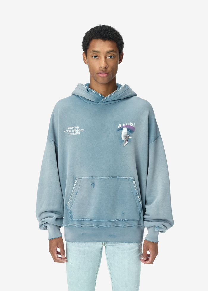 Oversized Eternal Dove Hoodie - Washed Cobalt