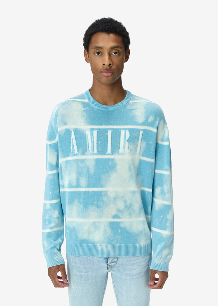 AMIRI Striped Knit Jacquard Crew - Light Blue