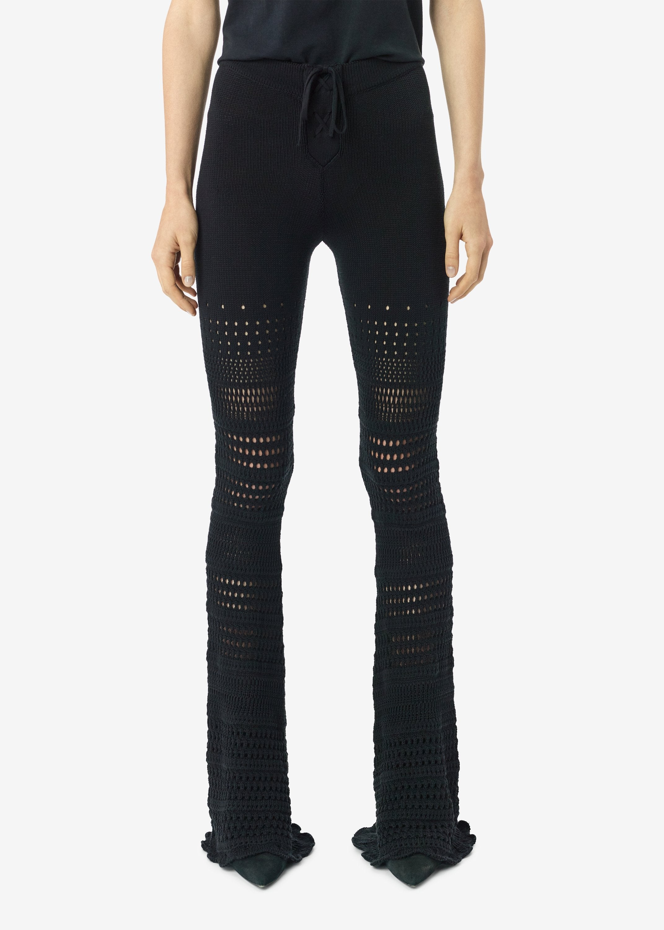 checkered-crochet-flare-pants-black-image-1
