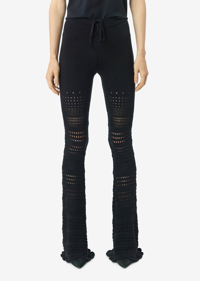 Checkered Crochet Flare Pants - Black