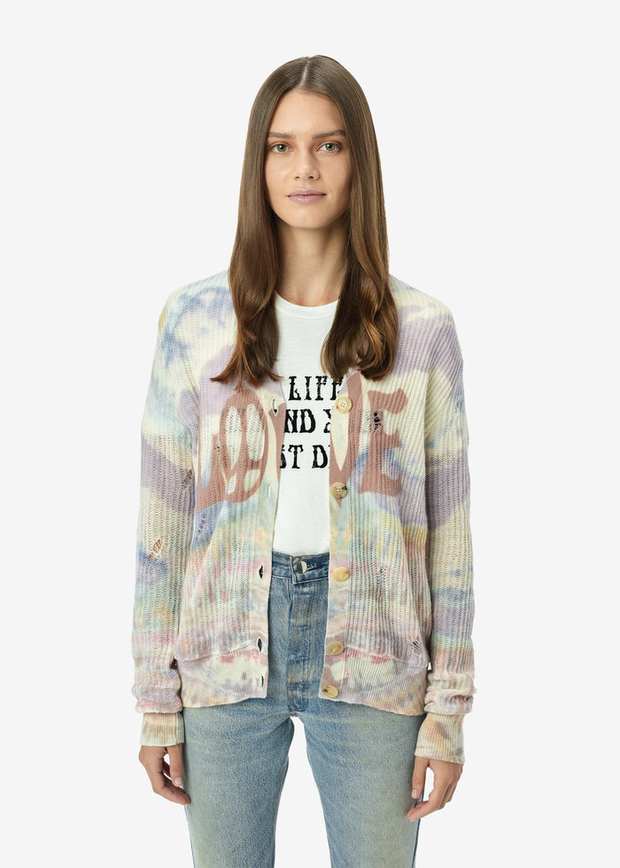 Tie Dye LOVE Cardigan - Multi-Color