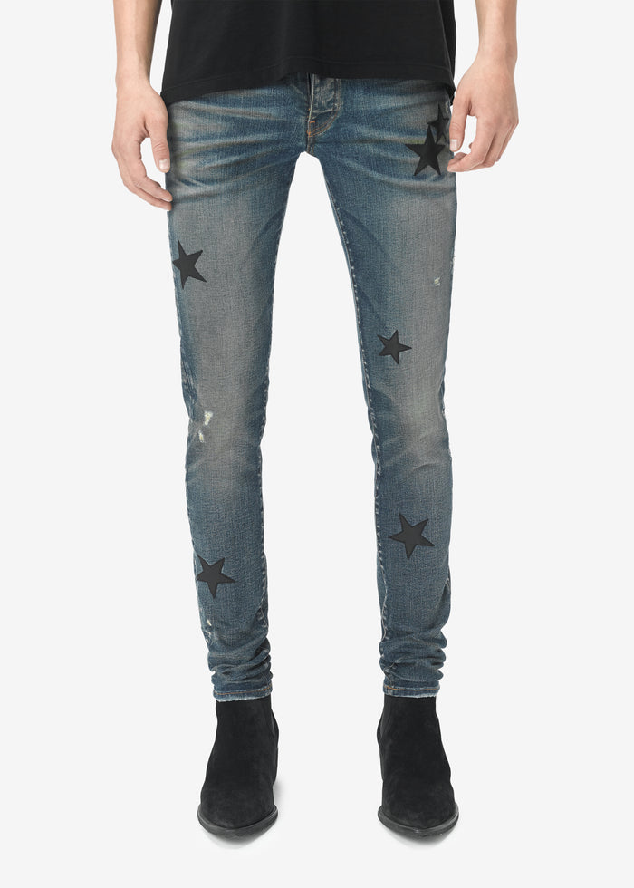 Leather Stars Stack Jean - Deep Indigo