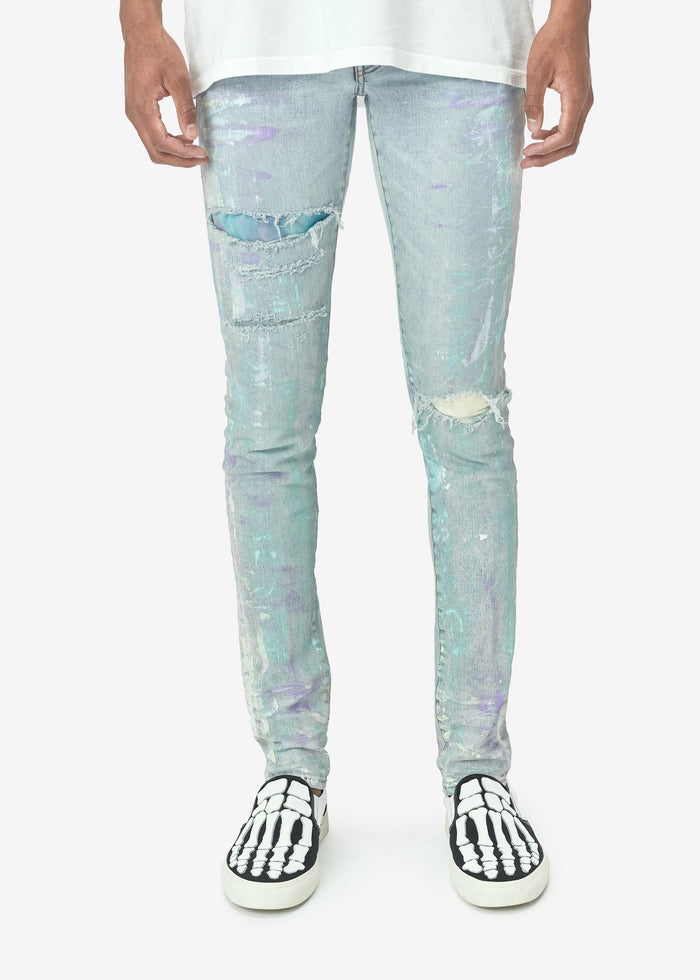 Painter Tie Dye Patch Jean - Sky Indigo